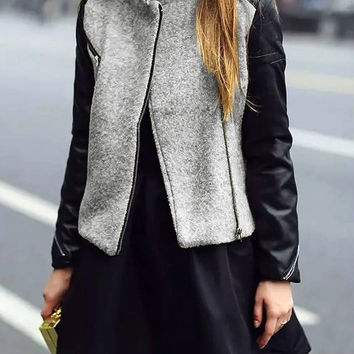 Color Block Leather Biker Jacket with Duffle Front