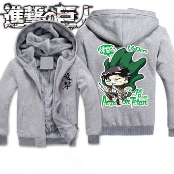 Cool Attack on Titan Winter New  Jackets Men Anime Hooded Thick Zipper Sweatshirts No  Cosplay Custome Hoodie 121708 AT_90_11