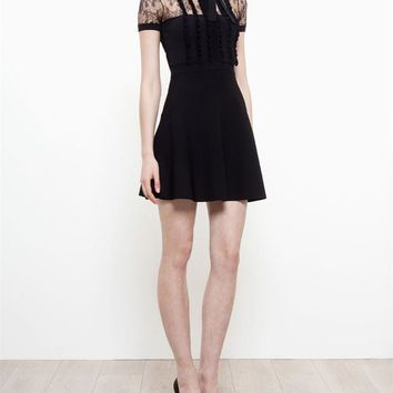 Stretch-Knit Dress with Lace Panels - VALENTINO
