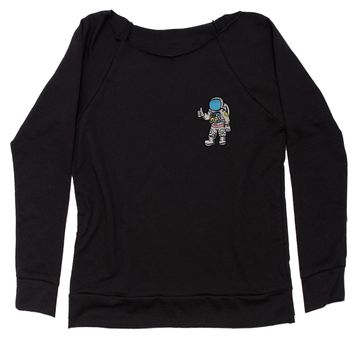 Embroidered Astronaut in a Space Suit Patch (Pocket Print) Slouchy Off Shoulder Oversized Sweatshirt