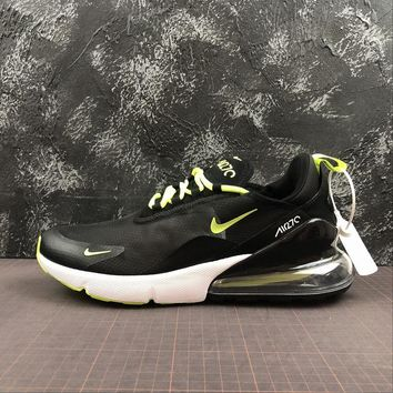 Nike Air Max 270 Black Fluorescent Green Running Shoes - Best Online Sale