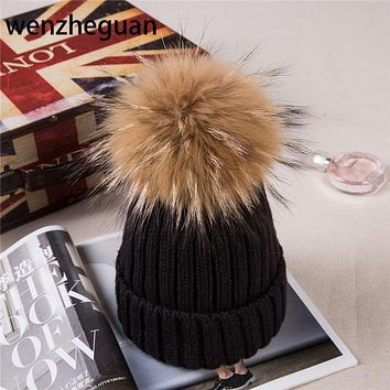 Baby Boy Winter Raccoon Fur Hat Kids Knitted Wool With15cm Pom Poms Cap Natural Fur Winter Thick Warm Cap For Children