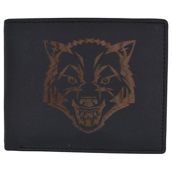 Mens Wolf Logo RFID Blocking Genuine Leather Card ID Bifold Wallet