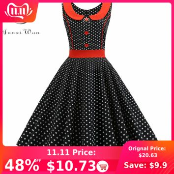 Black Polka Dot Printed Vintage Dress Women 2019 Summer Retro 50s 60s Pin Up Rockabilly Party Dress Robe Vestidos Plus Size