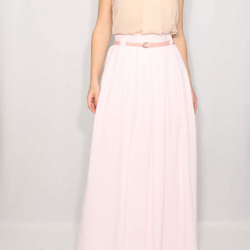 Pale pink skirt Maxi skirt High waisted skirt with pockets
