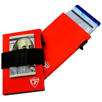 Card Blocr Money Clip Wallet for Men in Red with Optional Cash Band
