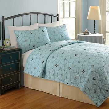 Home Classics Kacy Geometric Quilt - Full/Queen (Blue)
