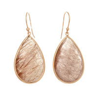Raspberry Rutilated Quartz Teardrops Earrings Set In Rose Gold Plated Sterling Silver