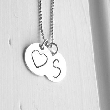 S Heart Necklace, Initial Necklace, Sterling Silver Monogram Necklace, Large Initial Pendant, Letter S Necklace, Charm Necklace, S Charm