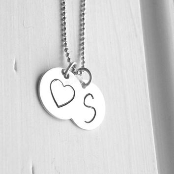 s heart necklace initial necklace sterling silver monogram necklace large initial pendant