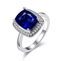 White Gold Plated Main Sapphire Cocktail Ring