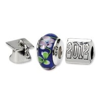 Genuine Reflection Beads (TM) Bead Charm. Sterling Silver Reflections Graduation Boxed Bead Set. 100% Satisfaction Guaranteed.