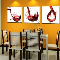 Art Deco Modern Abstract Wall Art Painting On Canvas (no Framed) with Delicious red wine with No Inside Frame and No Outside Frame