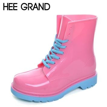 HEE GRAND 2017 Rain Boots Candy Colors Platform Women Ankle Boots Lace-Up Casual Shoes Woman Pink Flats Shoes XWX4145
