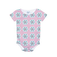 Blue Daisies on Pink Background All Over Print Bod
