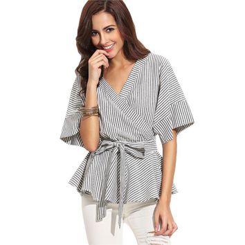 Black And White Stripe Bow Wrapped Shirt Women Business Wear Tops Half Sleeve V Neck Sexy Blouse
