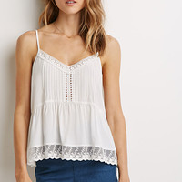 Floral Crochet-Trimmed Cami