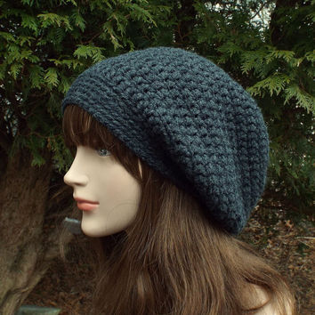 Charcoal Gray Slouch Beanie - Womens Slouchy Crochet Hat - Ladies Oversized Cap - Baggy Beanie - Chunky Hat