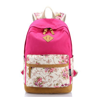Canvas Floral Printed Travel Bag Backpack Daypack Bookbag
