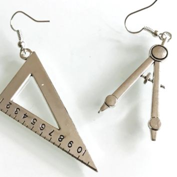 Vintage Compasses Set Drop Earrings