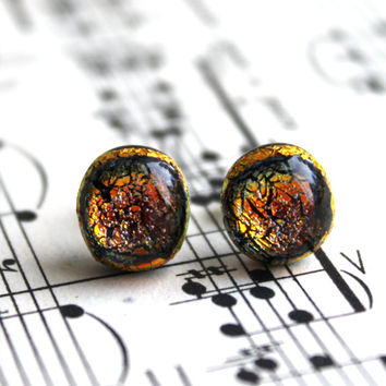 Orange Sparkling Dichroic Glass Stud Earrings, Sterling Silver, Fused Jewelry, Handmade, Glass Jewelry, Sparkling Fall Earrings, STUDS