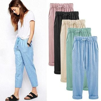 Female large size cotton and linen pants Nine pants Fat mm loose Thin section