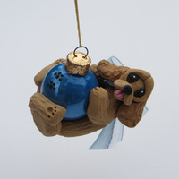 Buff Cocker Spaniel Dog Christmas Ornament Polymer Clay