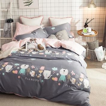 2018 Cats Dogs Animals Grey Bedding Set Cotton Fabric 4Pcs Queen Ru Europe Twin Size Duvet Cover Flat Sheet Pillow Cases