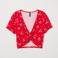 Short Top with Tie Detail - Red/floral - Ladies | H&M US