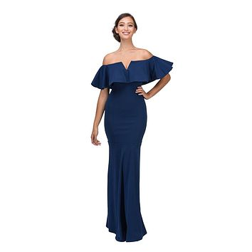 Long Formal Navy Blue Dress Off Shoulder with V-Notch Ruffled Bodice