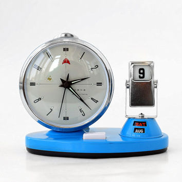 Vintage Mechanical Alarm Clock with Flip Calendar - Date, Day & Month / Blue Silver Manual Winding Clock - China - 70s 80s