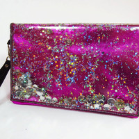 Hot Pink Clutch Bag Holographic Glitter Bag Pink Wristlet