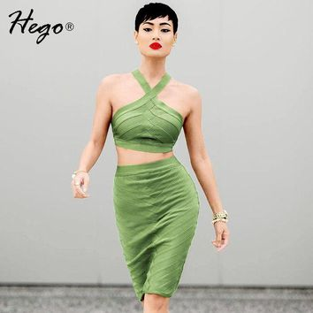 DCK9M2 Hego 2016 New Sexy Solid White Cropped Top Spaghetti Strap 2 Piece Set Bandage Dress