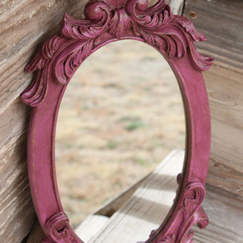 Antiqued 2014 PANTONE RADIANT ORCHID Distressed Vintage Chippy Ornate Mirror Scrolls Shell Rustic French Country Shabby Chic Cottage Nursery