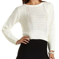 Mixed Stitch Pullover Sweater by Charlotte Russe