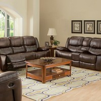 2 pc Kenwood collection premier brown leather fusion upholstered sofa and Love seat set with power motion recliners