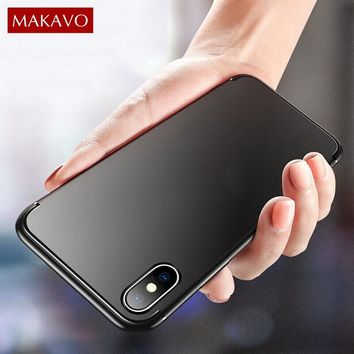 MAKAVO For iPhone XS Case 360 Protection Soft Silicone Housing Silm Matte Cover For iPhone X XS Max iPhone XR Phone Cases