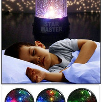 Hot Sale! Romantic Home Baby Kids LED Starry Sky Stars Night lights Cosmos Master Projector Lamp Flashlight, Christmas Gift (Without Cord Cable Line) 11.5x11.5x13.5cm = 1946611844