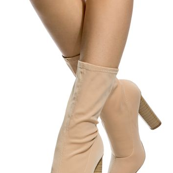Nude Woven Chunky Ankle Booties @ Cicihot. Booties spell style, so if you want to show what you're made of, pick up a pair. Have fun experimenting with all we have to offer!