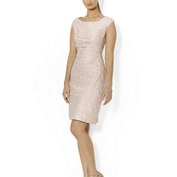Lauren Ralph Lauren Cap Sleeved Jacquard Dress