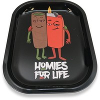 Designed Metal Rolling Tray (Mini) - Homies For Life
