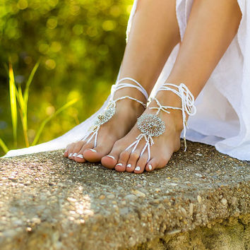 Beach wedding barefoot sandals White footless sandles Beaded bottomless sandals Soleless sandals Hippie foot jewelry Yoga bare foot sandals