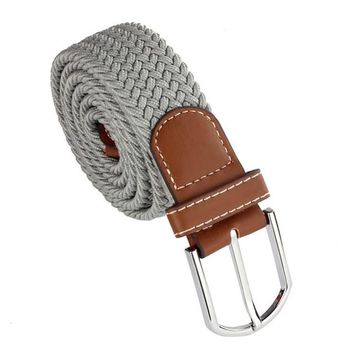 2014Popular Men Leather Braided Elastic Stretch Metal Buckle Belt Waistband Alice8