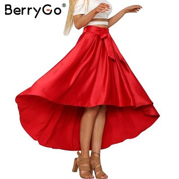 BerryGo Elegant satin ruffle sash bow long skirt Casual high low black loose women skirt Summer high waist party red skirt