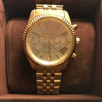 CUPUPSN MICHAEL KORS LEXINGTON CHRONOGRAPH LADIES WATCH GOLD. MK5556. GREAT CONDITION