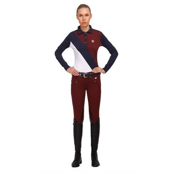 George H Morris Ladies Derby Knee Patch Breeches - Wine