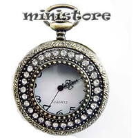 Large Size Rhinestone Pocket Watch with free Necklace Chain  - B340