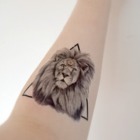 Large Temporary Tattoo - lion, animal, geometric, spring, accessories, orange
