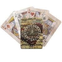 Grunge Steampunk Clocks and Gears Bicycle Playing Cards
