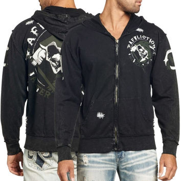 Affliction Faster Than Death Fully Zip Hoodie - Black